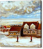 The Schoolhouse Winter Morning Quebec Rural Landscape Acrylic Print