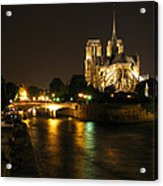The Seine And Notre Dame At Night Acrylic Print