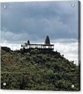 The Structure Of An Abandoned Temple On The Top Of A Green Covered Hill With Blue And White Clouds I Acrylic Print