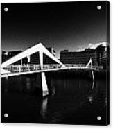 The Tradeston Bridge Pedestrian Bridge Over The River Clyde To The Financial District Of Glasgow Sco Acrylic Print