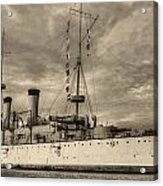 The Uss Olympia Black And White Acrylic Print by JC Findley