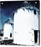 The Windmills Of Mykonos - Textured Blue Acrylic Print