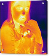 Thermogram Of A Girl And Cat Acrylic Print