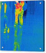 Thermogram Of Students At A Locker Acrylic Print