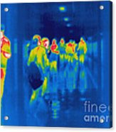 Thermogram Of Students In A Hallway Acrylic Print