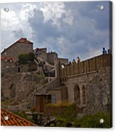 They Walk The Wall In Dubrovnik Acrylic Print
