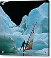 This Windsurfer In Portage Lake Acrylic Print by Chris Johns