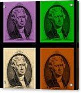 Thomas Jefferson In Quad Colors Acrylic Print