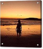 Thoughtful Woman In The Beach Acrylic Print by Jenny Senra Pampin