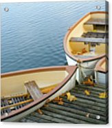 Three Boats Floating On Pond Beside Pier Acrylic Print