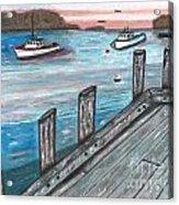 Three Boats In The Harbor Acrylic Print