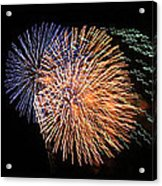 Three Bursts Of Fireworks Four July Two K Ten Acrylic Print by Carl Deaville