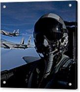 Three F-15 Eagles Fly High Acrylic Print
