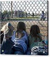 Three Girls Watching Ball Game Behind Home Plate Acrylic Print