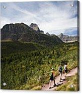 Three Hikers Walk On A Trail Acrylic Print