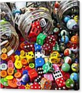 Three Jars Of Buttons Dice And Marbles Acrylic Print