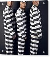 Three Prisoners. Group Of Men In Suits Of Convicts. Acrylic Print