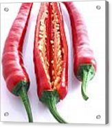 Three Red Chilli's With One Cut Open Acrylic Print