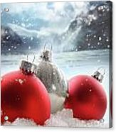 Three Red Christmas Balls In The Snow Acrylic Print