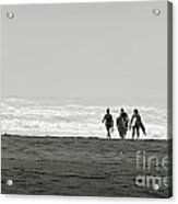 Three Swimmers With Surfing Boards Acrylic Print