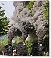 Three Train Race Acrylic Print