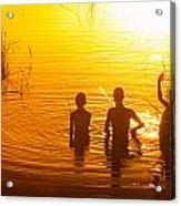 Three Young Kids Fishing On The Lake At Sunset Acrylic Print