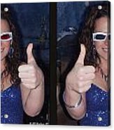 Thumbs Up - Gently Cross Your Eyes And Focus On The Middle Image Acrylic Print