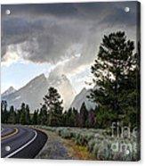 Thunderstorm On Grand Teton Road Acrylic Print