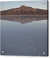 Thunupa Volcano Refelcted On The Salar Acrylic Print