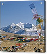 Tibetan Buddhist Prayer Flags Atop Pass Acrylic Print by Gordon Wiltsie