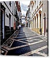 Tiled Street Of Ponta Delgada Acrylic Print