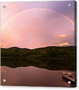 Timing Is Divine Rainbow Over Vermont Mountains Acrylic Print