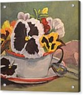 Tin Cup Pansy Tea Acrylic Print