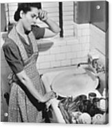 Tired Woman At Kitchen Sink, (b&w), Elevated View Acrylic Print