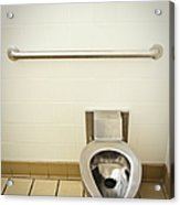 Toilet In A Public Restroom Acrylic Print by Thom Gourley/Flatbread Images, LLC