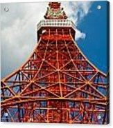 Tokyo Tower Face Cloudy Sky Acrylic Print by Ulrich Schade