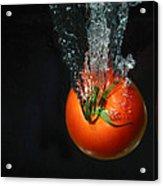 Tomato Falling Into Water Acrylic Print