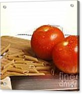 Tomatoes Pasta And Knife Acrylic Print