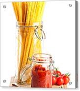 Tomatoes Sauce And  Spaghetti Pasta  Acrylic Print by Amanda Elwell