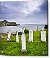 Tombstones Near Atlantic Coast In Newfoundland Acrylic Print by Elena Elisseeva