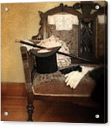 Top Hat And Cane On Sofa Acrylic Print
