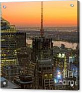 Top Of The Rock Twilight Ix Acrylic Print by Clarence Holmes