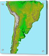 Topographic View Of South America Acrylic Print