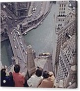 Tourists Looking Down On The Chicago Acrylic Print