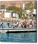 Tourists Waiting To Climb Onto Dive And Snorkeling Boats At Sharm El Sheikh Acrylic Print