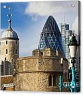 Tower And Gherkin Acrylic Print by Donald Davis