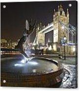 Tower Bridge Girl With A Dolphin Acrylic Print
