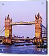 Tower Bridge In London At Dusk Acrylic Print