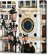 Tower Clock In Saint Mark's Square Acrylic Print by Susan Holsan