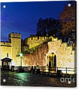 Tower Of London Walls At Night Acrylic Print by Elena Elisseeva